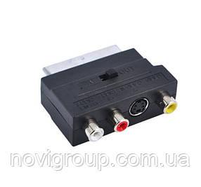 Перехідник SCART (тато) -3 RCA (мама) + Svideo Black c перемикачем
