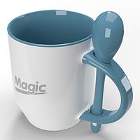 Чашка сублимационная Голубая внутри и ручка + ложка  95х82 мм (330мл), серия (BEST)
