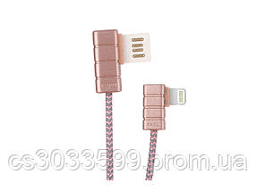 Кабель iKAKU Gallop series for iphone, Rose-Gold, довжина 1м, 2.4 A, BOX