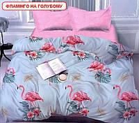 Односпальний комплект постільної білизни - Фламінго на голубому, компанія, фото 1