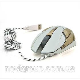 Миша дротова MICE V6, 6 кнопок, 800/1200/2400/3200 DPI, Led Lighting, 1,3 м, Win7 / 8/10 Mac OS, White, COLOR
