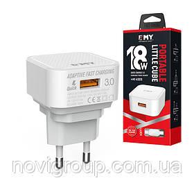 Набір 2 в 1 СЗУ With Iphone Cable 110-240V MY-A302Q, 1 x USB, 18W, Output: DC 3.6-6V / 3A 6-9V / 2A 9-12V /