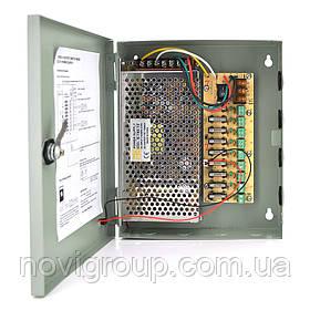 Імпульсний блок живлення 12V-15A / 9CH в боксі з замком перфорований, 9-ти канальний, Q20