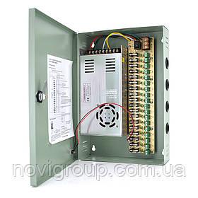 Імпульсний блок живлення 12V-30A / 18CH в боксі з замком перфорований, 18-ти канальний, Q14