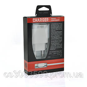 Набір 2 в 1 СЗУ With Iphone Cable 110-240V MY-A303Q, 1 x USB, 5V / 15.5W, Output: 5V / 3.1A, White, Blister-