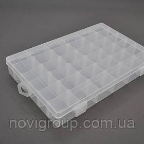Пластмасовий ящик для радіодеталей, 270 х 45 х 175 мм, 36 відділень