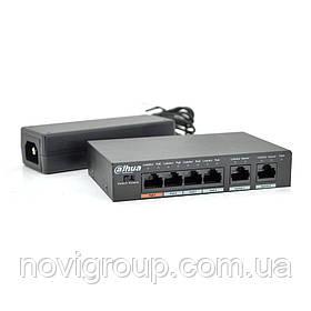 Комутатор POE  Dahua DH-PFS3006-4ET-60 з 4 портами POE 100Мбит + 1 порт Ethernet (UP-Link) 100Мбит, корпус -