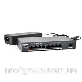 Комутатор POE Dahua DH-PFS3009-8ET-96 48V з 8 портами POE 100Мбит + 1 порт Ethernet (UP-Link) 100Мбит, корпус