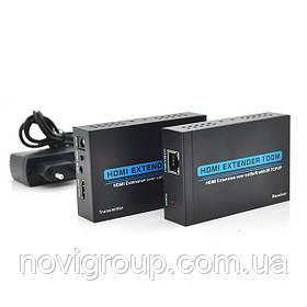 Одноканальний активний подовжувач HDMI сигналу по UTP кабелю ЦІН. Дальність передачі: до 120 метрів, cat5e / cat6e 1080P / 3D з блоком живлення.