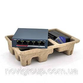 Комутатор POE Hikvision 48V DS-3E0105P-E/M 4 портів POE + 1 порт Ethernet (Uplink) 10/100 Мбіт / сек, БЖ в