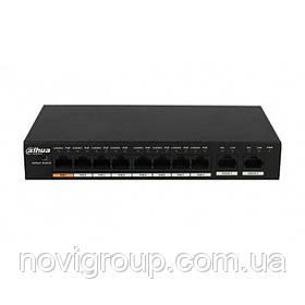 ¶Комутатор POE DH-PFS3010-8ET-96 48V з 8 портами POE 100Мбит + 2 порт UP-Link 1000Мбіт, корпус - метал, Black