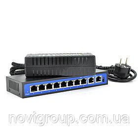 Комутатор POE 52V / 2,3А з 8 портами POE 100Мбит + 2 порт Ethernet (UP-Link) 100Мбит, Black, БП в комплекті