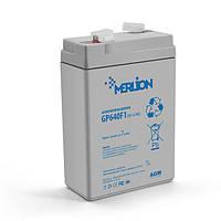 Акумуляторна батарея MERLION AGM GP645F1, 6V 4.5Ah ( 70 x 47 x 100 (105) )  White/Black Q20