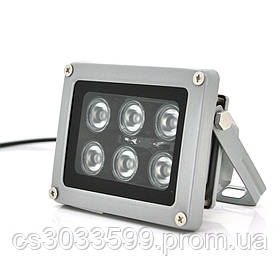 ІК прожектор YOSO 12V 12W, 6LED, IP66, 850нм, кут огляду 60 °, лінза 6мм, робоча відстань до 30м, 114*86*86мм, BOX