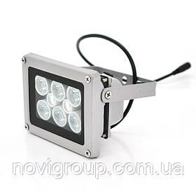 ІК прожектор YOSO 12V 16W, 6 + 2LED, IP66, 850нм, кут огляду 60 °, дальність до 30м, 110 * 86 * 63мм, BOX