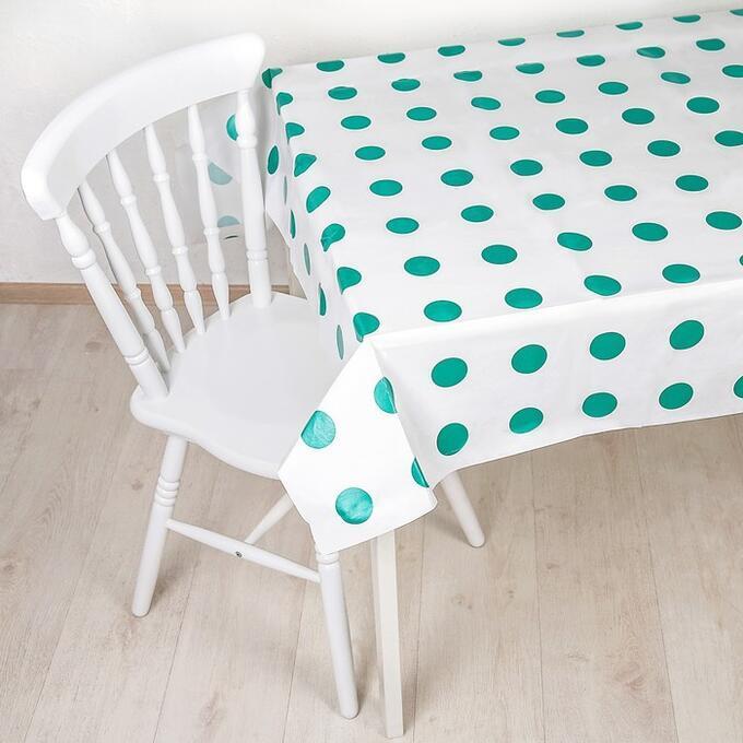 Одноразова скатертину на стіл біла в зелений горох 120 х 150 см
