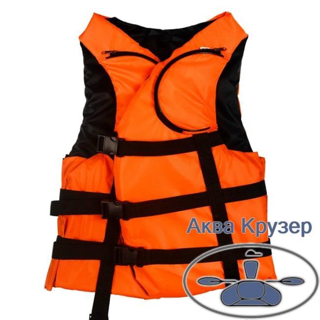 Яркий оранжевый 100 -120 кг взрослый страховочный жилет (спасательный ) с карманами, сертифицированный