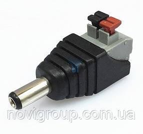 Роз'єм для підключення живлення DC-M (D 5,5x2,1мм) з клемах під ручний зажим під кабель (Black Plug) (100шт / уп), Q100