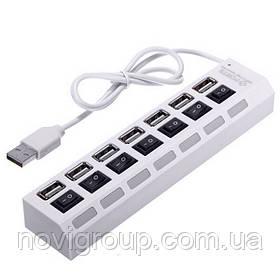 Хаб USB 2.0 7 портів з перемикачами на кожен порт, White, 480Mbts High Speed, живлення від USB, Blister Q100