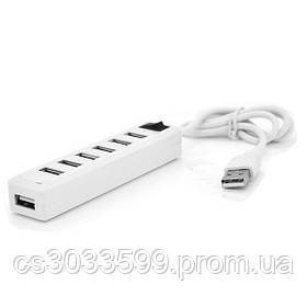 Хаб USB 2.0 7 портів, White, 480Mbts живлення від USB, з вимикачем, Blister Q100