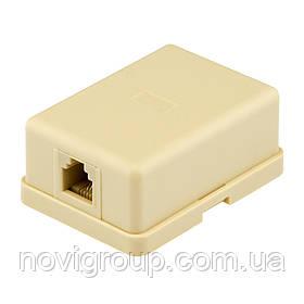 Розетка RITAR UTP RJ12 6P4C 1 порт. телефонна накладна біла, пакет Q50