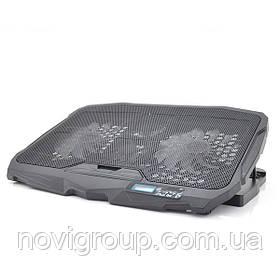 """Підставка під ноутбук S18(DCX-025) 4 fans + LCD, 9-17 """", 2 х125mm LED 500 ± 10% RPM, корпус пластик, 2xUSB"""