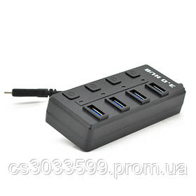 Хаб Type-C, 4 порти USB 3.0, 20 см, з кнопкою на кожен порт, Black, Blister