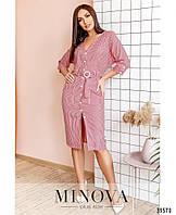 Сдержанное платье прямого кроя на пуговицах с накладными карманами с 48 по 58 размер