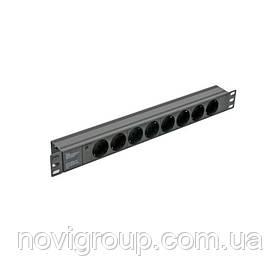 """Блок Kingda 19"""" на 8 троянд. нім. станд., 10А, з індикат., без шнура, чорний, 1U"""