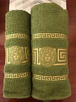 Полотенца банные комплект 50х90 и 70х140 зеленый Moz