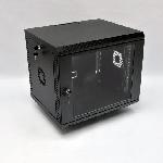 9U Шафа, 600х500х507 мм (Ш*Г*В), акрилове скло, чорна