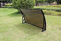 Козырек 0,7х1,0м навес из поликарбоната сотового с кронштейнами и крепежом бронза