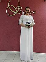 Нарядное длинное белое молочное платье батал большого размера на свадьбу на выпускной, вечернее 48 (4XL)
