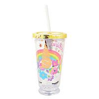 Тамблер-стакан YES с подсветкой Unicorn, 490мл, фольга ,с трубочкой     код: 707044