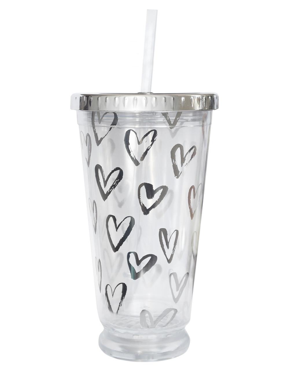 Тамблер-стакан YES с подсветкой Hearts 490мл фольга с трубочкой код: 707045
