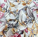 Аромат весни 899-2, павлопосадский хустку (крепдешин) шовковий з подрубкой, фото 7