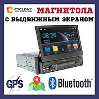 Магнитола 1 din с выдвижным экраном gps навигатором выездным экраном CYCLONE MP-7059 GPS