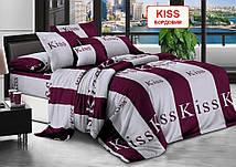 Двоспальний комплект постільної білизни - Kiss, бордовий