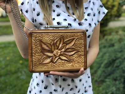 Сумка ручной работы из дерева для женщин, ексклюзивная резьба, STRYI, 25*18*8