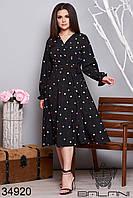 Черное платье миди с V-образным вырезом и принтом горошек с 48 по 54 размер