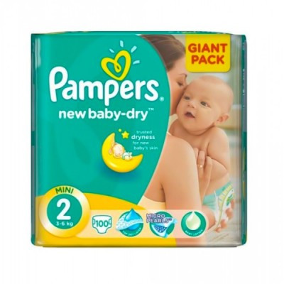 Підгузки Pampers New Baby-dry 2 (3-6кг), 100шт
