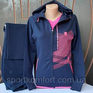 Турецкий женский трикотажный  костюм, Soccer, Турция, тёмно-синий с розовой отделкой.
