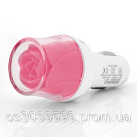 АЗУ NOKOKO Flower, 12V-USB, 5-5.5 V, 2*USB, 10W, 2,1 А, Pink, Пакет Q50