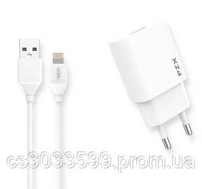 Набір 2 в 1 СЗУ With Iphone Cable 110-240V PZX C823E, 1xUSB, 2.1A, White, Blister-box
