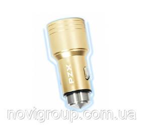 АЗУ 110-240V PZX C907, 2xUSB, 3.1 A, Gold, Blister-box