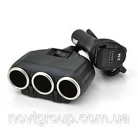 АЗП розгалужувач + вольтметр Olesson 1634, 12V-3 * 12V + USB, Black, Blister