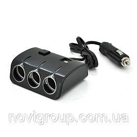 АЗП розгалужувач Olesson 1506, 12V-3 * 12V + 2 * USB, Black, Bliste
