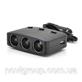 АЗП розгалужувач Olesson 1636, 12V-3 * 12V + 2 * USB, Black, Blister