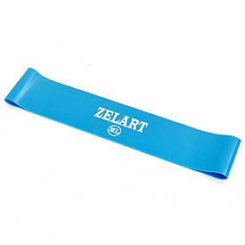 Стрічка опору, фітнес гумка 500*50*0,9 мм Zelart жорсткість МL, блакитна