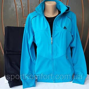 Прогулочный голубой трикотажный женский  костюм, Турция, Soccer,  голубой/темно-синий.